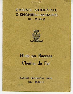 Older Hints on Baccara Brochure from the Casino Municipal Nice France