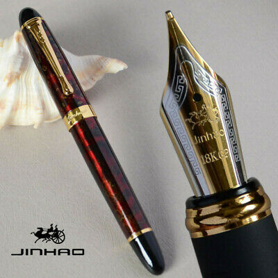 JINHAO X450 WINE AND GOLDEN 0.7mm BROAD NIB FOUNTAIN PEN WITH BLACK FO