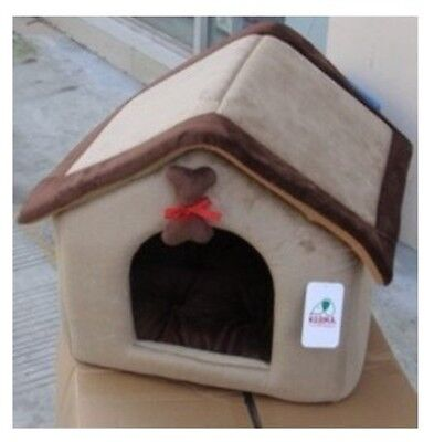Pet Dog Cat Soft House Bed Christmas House Brown 36x41x41cm