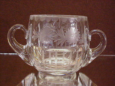 ART DECO FROSTED FLORAL PATTERN CUT GLASS HEISEY GLASS SUGAR BOWL!