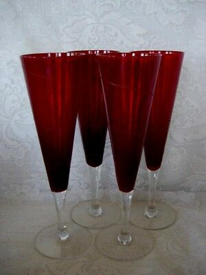 Set of 4 Very Tall Ruby Red/Crystal Blown & Cut Glass Flutes Goblets-MORE AVAIL.