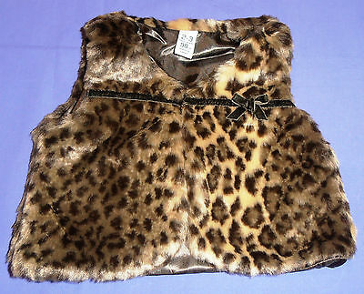 Leopard Print Faux Fur Sleeveless Coat - 5 Sizes - Fully Lined - 2/7 Years - NEW