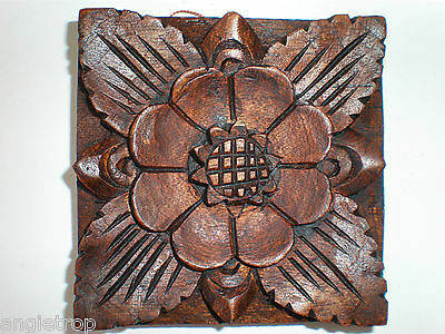 Balinese Traditional Floral Hard Wood Carved Wall Hanging Bali Carving 10Cm
