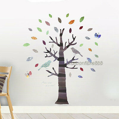 Large Colourful Tree&Birds Wall Stickers Art Decals Children Kids Room REUSABLE