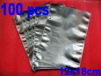 "100 pcs ESD Anti-Static Static Shielding Bags 12x18cm Open-Top (4.7x7.1"")"