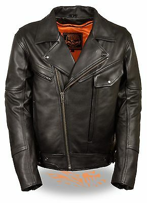 Mens Milwaukee Leather Utility Pocket Motorcycle Jacket w/ Dual Side Gun Pockets