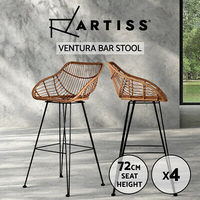Artiss 4x Outdoor Wicker Bar Stools Rattan Stool Dining Chair Brown PE Barstools
