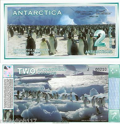 ANTARCTICA $2 Banknote World Money UNC Currency BILL 1996 Penguins FUN note 1996