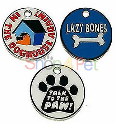 Pet ID Tag Tags, Quality 25mm Novelty Designs, Chrome Back,  ENGRAVED FREE,