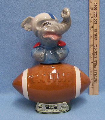 Vintage Ceramic Elephant Football Player Jim Beam Decanter 1972 Regal China