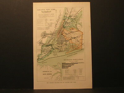 Map Of New York City,  Color Lith 1897