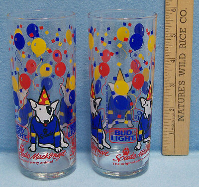Set of 2 Vintage 1987 Bud Light Spuds Mackenzie Party Animal Beer Glasses