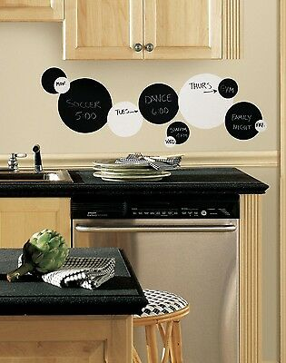 BLACK WHITE DOTS 31 BiG Removable Wall Decals DRY ERASE CHALK Room Decor Sticker