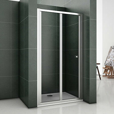 Aica Bathroom Bi Fold Shower Enclosure Cubicle Door Screen Glass Chrome Frame