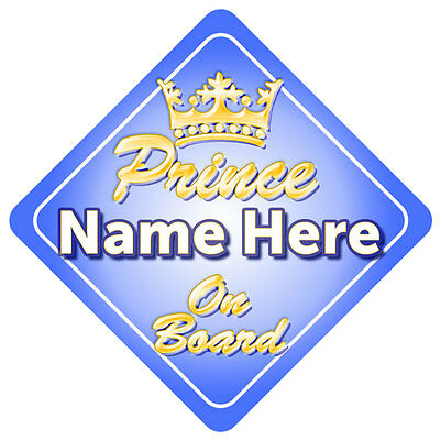 Gold Prince On Board with Crown Car Window Sign Baby/Child Gift Little Boy
