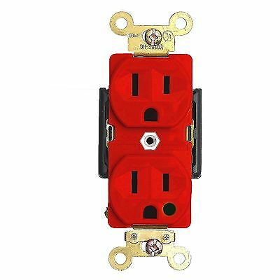 Hospital Grade Duplex Receptacle 15 Amp Outlet 125 Volt Red Heavy Duty Grounding