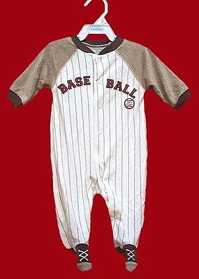 "BRAND NEW BOYS VELOUR ROMPER SUIT ""MOM'S ALLSTAR"" BASE BALL  Ages 3-9 Months"