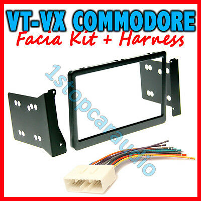 HOLDEN COMMODORE VT VU VX DOUBLE-DIN FACIA KIT +WIRING HARNESS dash fascia panel