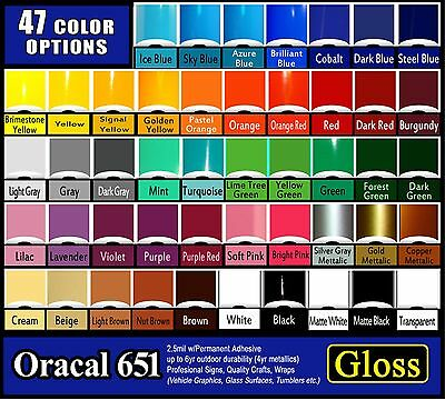"""6 rolls 12""""  Oracal 651 Gloss  adhesive backed vinyl Sign & Craft Quality"""