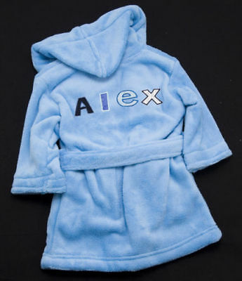 BABY BOYS BLUE PERSONALISED EMBROIDERED DRESSING GOWN 6-12 12-18 19-24 + older