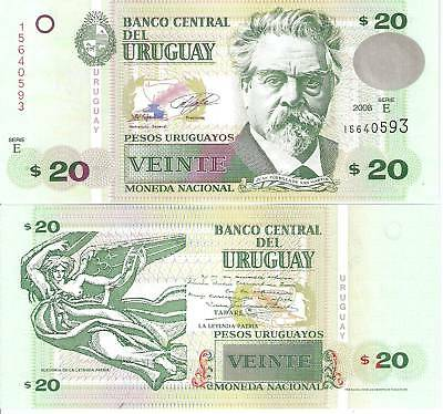 URUGUAY 20 Pesos Banknote World Currency Money BILL South America Note p86a 2008