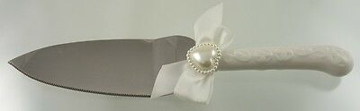 Scroll China And Stainless Brides Off Set Cake Knife & Server By Taiwan Maker