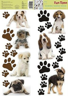 PUPPY DOG 27 Removable Wall Decals Puppies Paw Prints Room Decor Stickers
