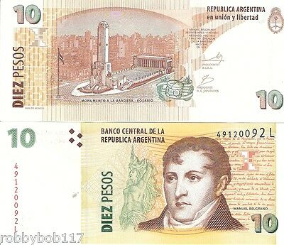 ARGENTINA 10 Pesos Banknote World Paper Money UNC Currency Pick p-354 Bill Note