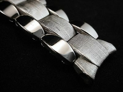 NOS Vintage Quadraflex White Gold And Stainless Steel Watch Band 5/8 Inch Lugs