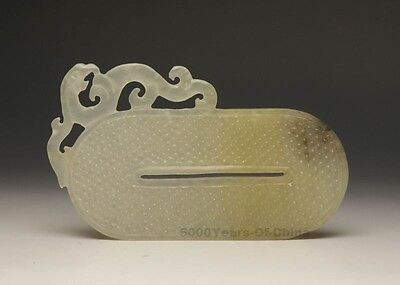 """5.42"""" Enticing Old Carved Phoenix Long Circle Natural Nephrite Jade Pendant"""