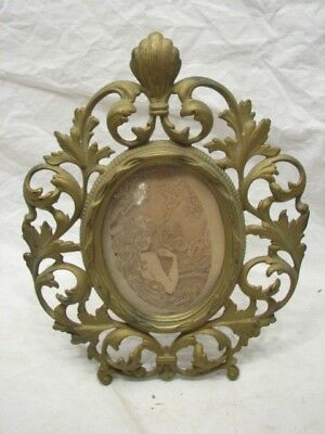ANTIQUE MANTLE FRAME VICTORIAN BRASS WASH CAST IRON 1800s ORNATE W/DIE CUT