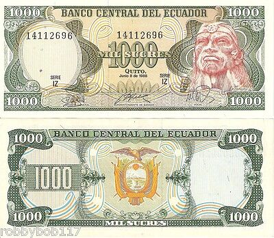 ECUADOR 1000 Sucres Banknote World Money Currency BILL p125a South America Note
