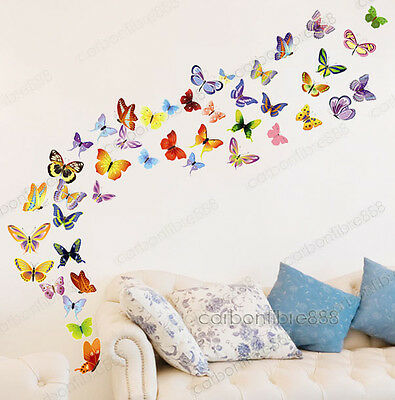 42 Colourful Butterflies Vinyl Wall Stickers PREMIUM QUALITY Decals Girls Room