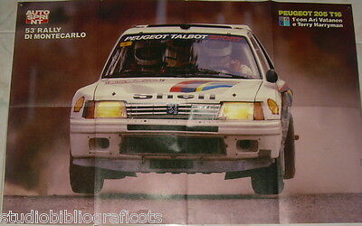 AUTOSPRINT POSTER Peugeot 205 T16 Rally Montecarlo 1985