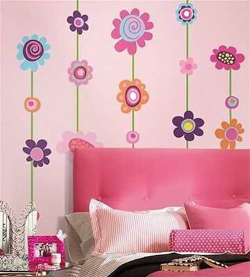 FLOWERS STRIPE 53 Removable Wall Stickers VINE BORDER Girls Room Decor Decals
