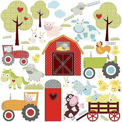 HAPPI BARNYARD 42 Wall Decals FARM Animals TRACTORS Red Barn Room Decor Stickers