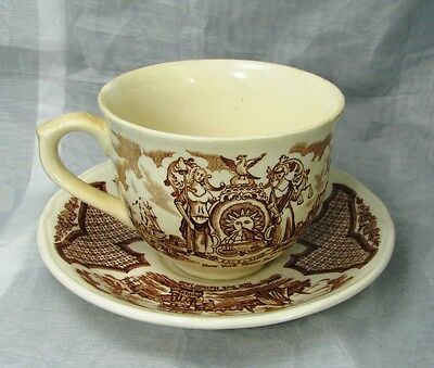 "Staffordshire Brown ""Fair Winds"" Cup and Saucer by Alfred Meakin (Lot #2)"