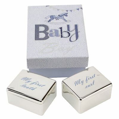 Silver Plated First Tooth and Curl Trinket Box for Baby Boy LD108B