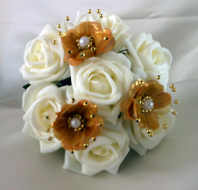 Bridal Flowers Flowergirl posy wedding bouquet  Ivory & Gold