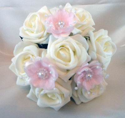 Bridal Flowers Flowergirl posy wedding bouquet  Ivory & Pink