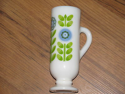 Vintage Avon Milk Glass Cup/Bud Vase with Green and Periwinkle Flower Design