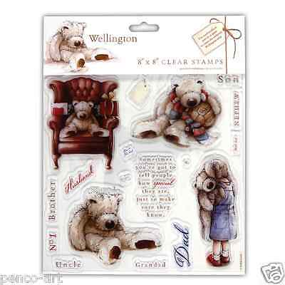 Docrafts clear Wellington bear stamps set of 18. Male relations, dad, uncle, etc