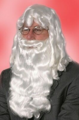 451caa55a872 Deluxe White Santa Claus Wig And Beard Set Christmas Costume Adult Mens  Male Wig