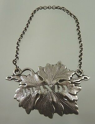 BRANDY DECANTER PIERCED LEAF LABEL SILVER PLATE BY AMERICAN unknown MAKER