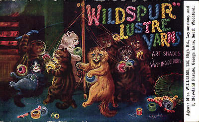Louis Wain. Wildspur Lustre Yarns Advert. Miss Williams, Leytonstone & Woodford.