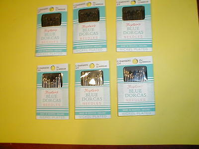6 Pkgs of 12  Size 3/9 Cotton Darners, Embroidery, Hemming, Hand Sewing Needles