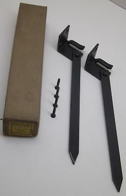 "[2] Vintage Antique Garage Door Holder 9"" Metal Spike Nos In Box"