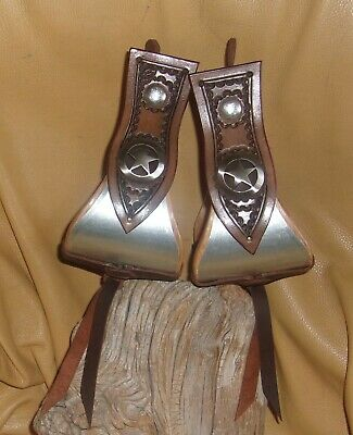 """Custom 4"""" Bell Stirrups, Brown Leather Side Pieces Star Conchos ! G&E"""