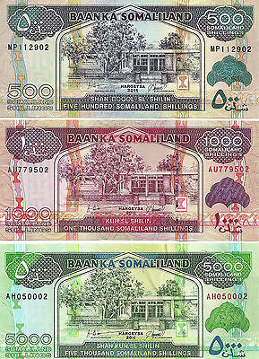 Somaliland 500,1000 & 5000 Shillings 2011  Uncirculated 3 Notes