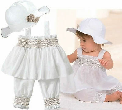 3pcs Baby Girl Kids Newborn Ruffle Hat+Top+Pants Set Outfit Clothes 0-24M White